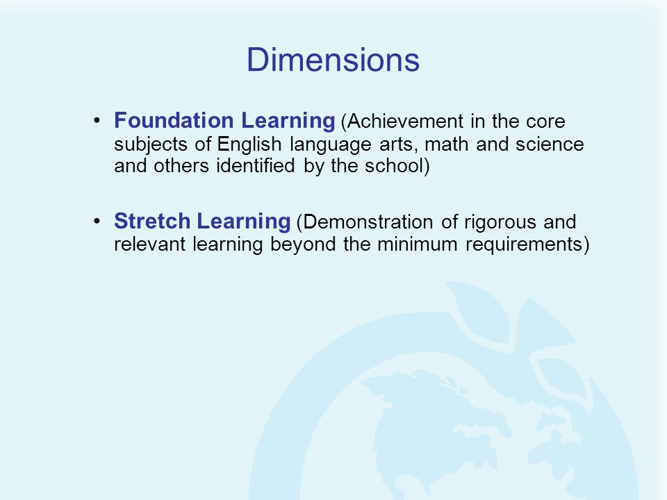 Foundation Learning (Achievement in the core subjects of English language arts, math and science and others identified by the school) Stretch Learning