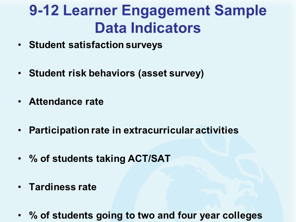 9-12 Learner Engagement Sample Data Indicators Student satisfaction surveys Student risk behaviors (asset survey) Attendance rate Participation rate i