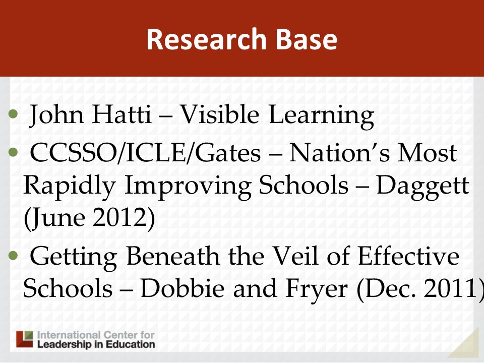 Research Base John Hatti – Visible Learning CCSSO/ICLE/Gates – Nations Most Rapidly Improving Schools – Daggett (June 2012) Getting Beneath the Veil of Effective Schools – Dobbie and Fryer (Dec.