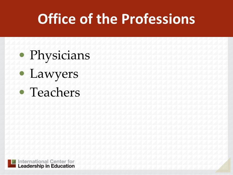 Office of the Professions Physicians Lawyers Teachers