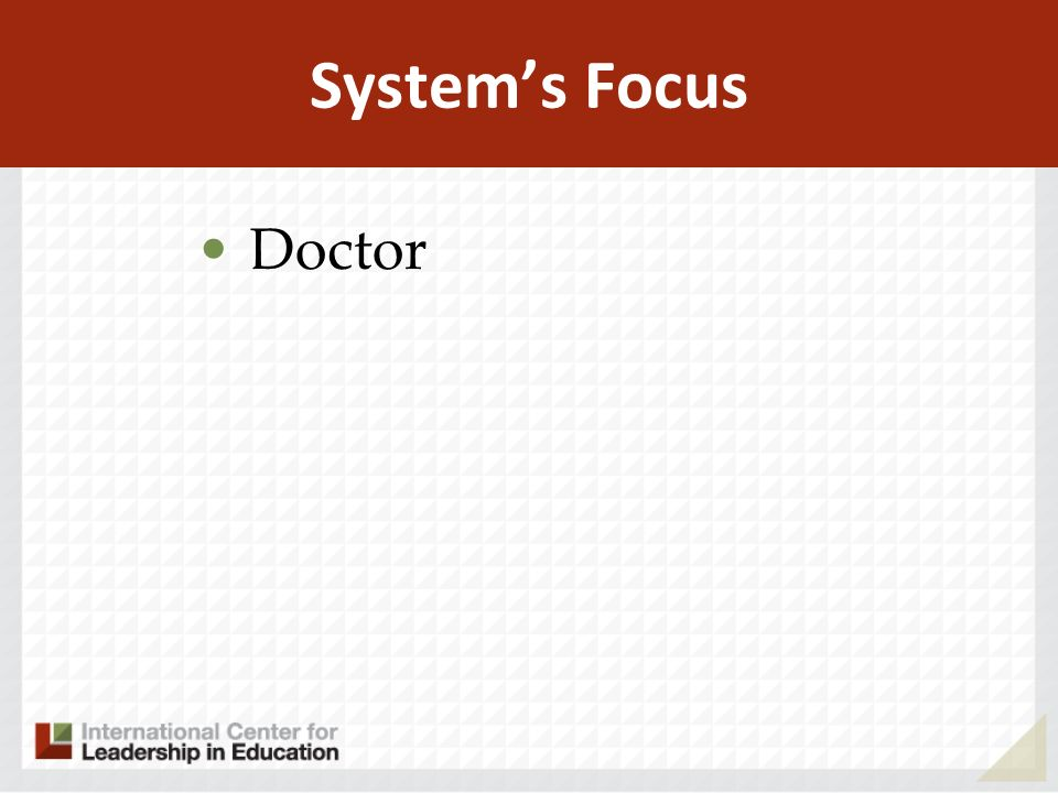 Systems Focus Doctor