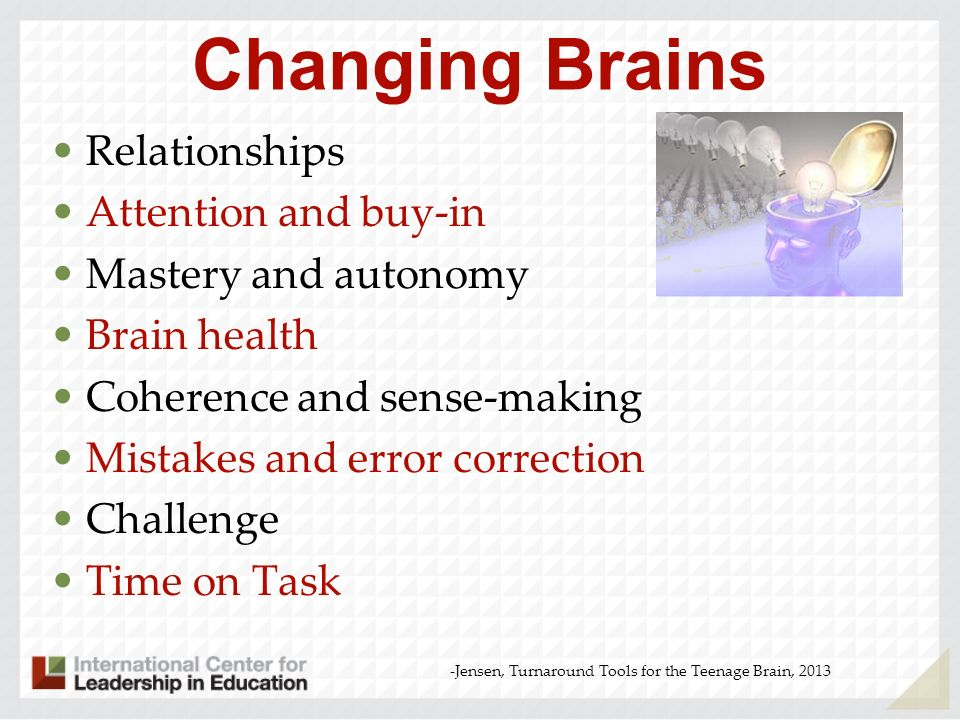 Optimum Success for Every Student 1.Attitude 2.Cognitive Capacity 3.Effort 4.Focused Strategy -Jensen, Turnaround Tools for the Teenage Brain, 2013