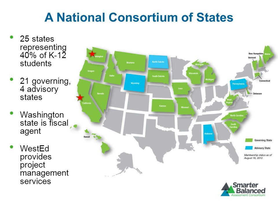 25 states representing 40% of K-12 students 21 governing, 4 advisory states Washington state is fiscal agent WestEd provides project management servic
