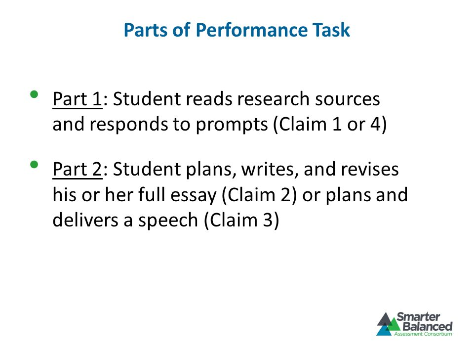 Parts of Performance Task Part 1: Student reads research sources and responds to prompts (Claim 1 or 4) Part 2: Student plans, writes, and revises his