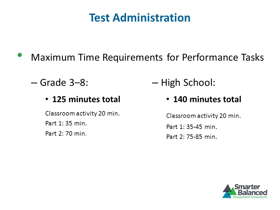 Test Administration Maximum Time Requirements for Performance Tasks – Grade 3–8: 125 minutes total Classroom activity 20 min. Part 1: 35 min. Part 2: