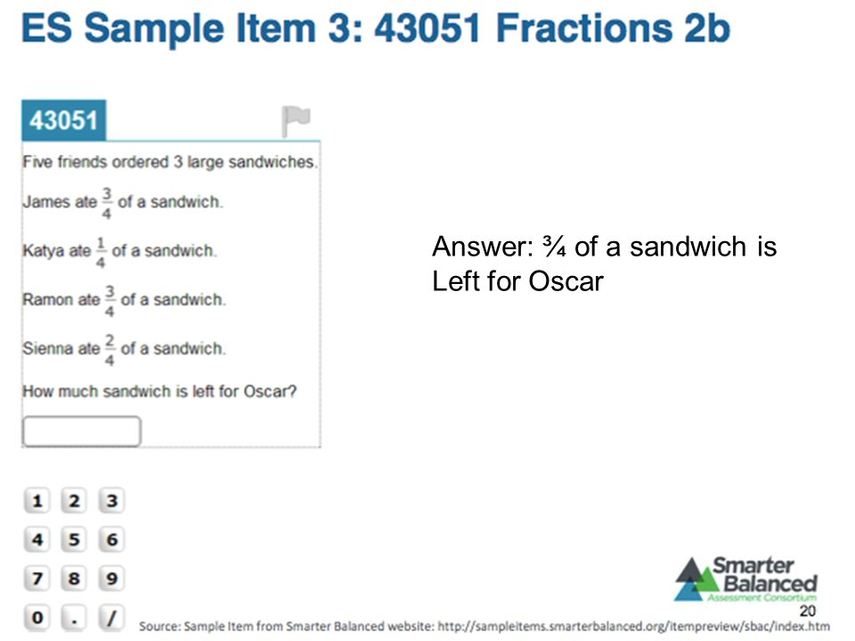 Answer: ¾ of a sandwich is Left for Oscar