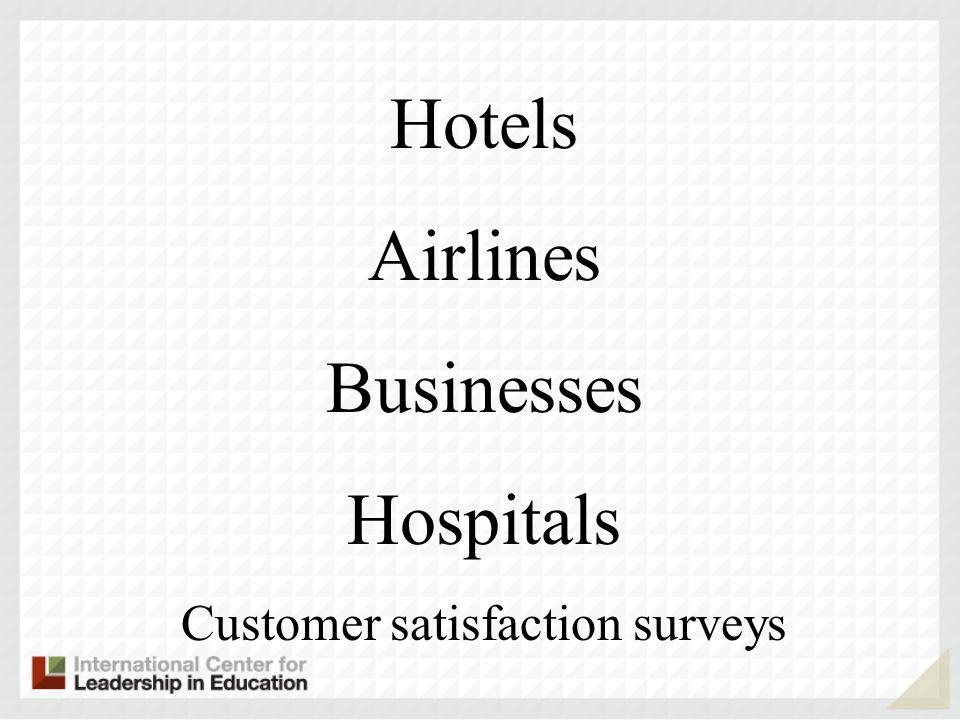 Hotels Airlines Businesses Hospitals Customer satisfaction surveys