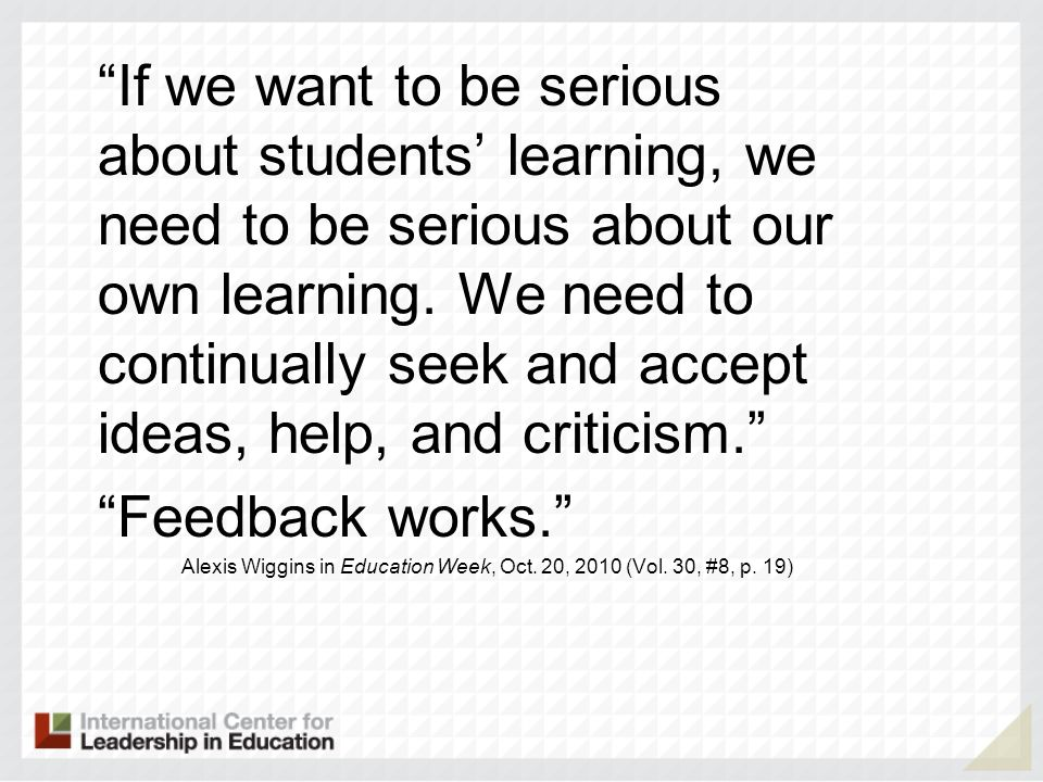 If we want to be serious about students learning, we need to be serious about our own learning.