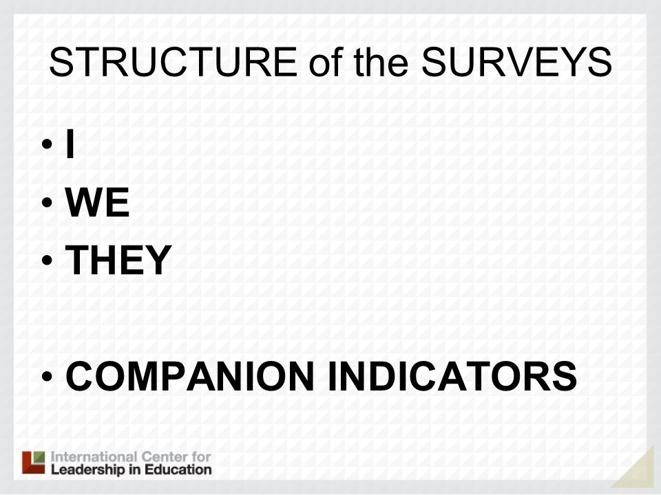 STRUCTURE of the SURVEYS I WE THEY COMPANION INDICATORS