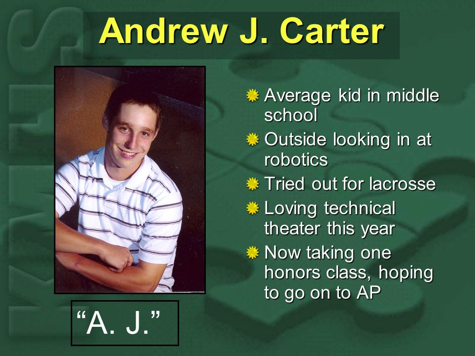Andrew J. Carter Average kid in middle school Outside looking in at robotics Tried out for lacrosse Loving technical theater this year Now taking one