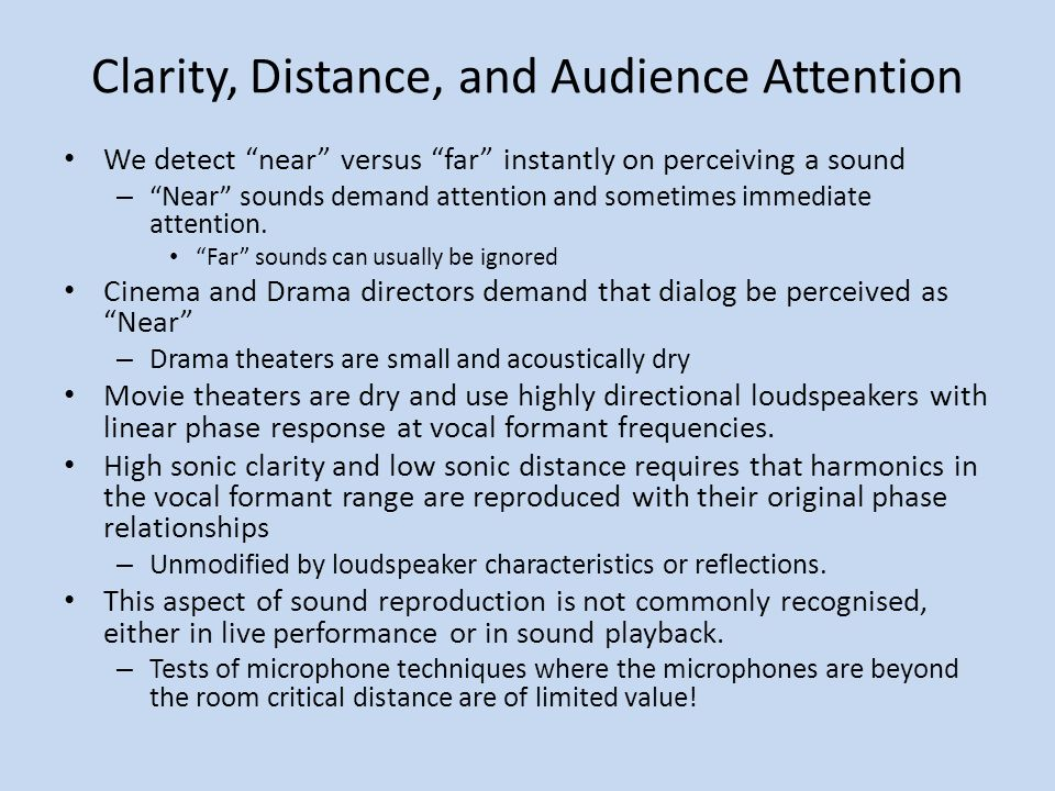 Example of Clarity for Speech This impulse response has a C50 of infinity – STI is 0.96, RASTI is 0.93, and it is flat in frequency.