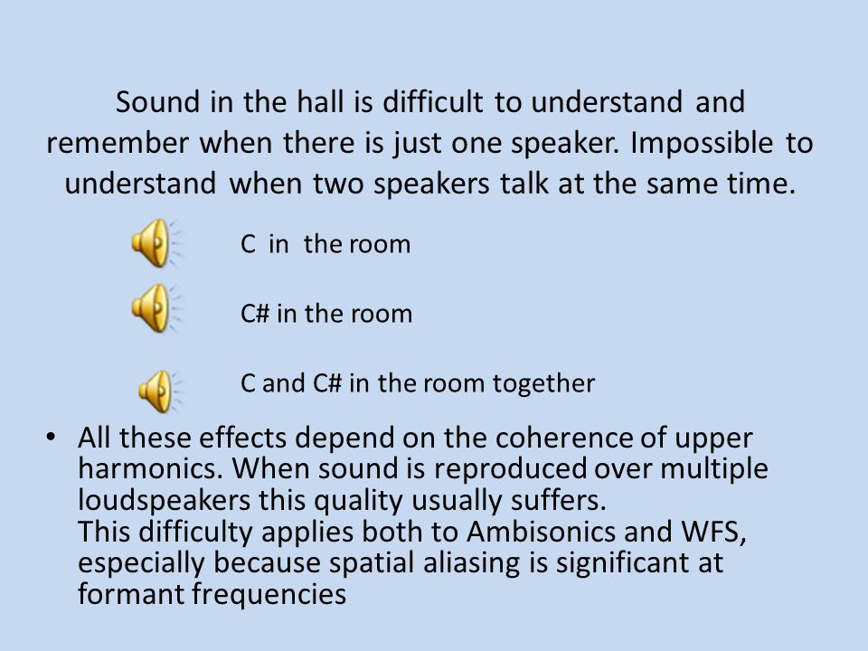 Sound in the hall is difficult to understand and remember when there is just one speaker. Impossible to understand when two speakers talk at the same