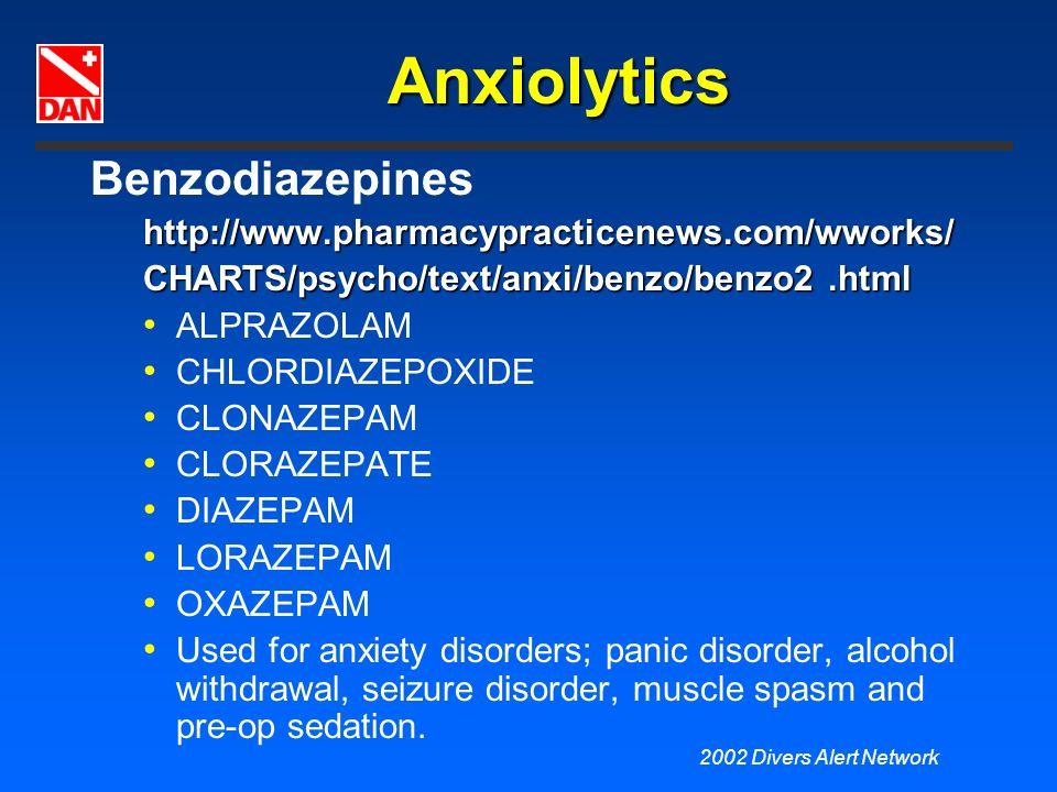 2002 Divers Alert Network Anxiolytics Benzodiazepineshttp://www.pharmacypracticenews.com/wworks/ CHARTS/psycho/text/anxi/benzo/benzo2.html ALPRAZOLAM