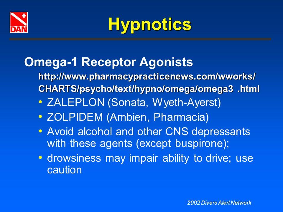 2002 Divers Alert Network Hypnotics Omega-1 Receptor Agonistshttp://www.pharmacypracticenews.com/wworks/ CHARTS/psycho/text/hypno/omega/omega3.html ZA