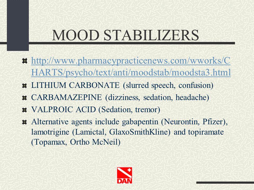 MOOD STABILIZERS http://www.pharmacypracticenews.com/wworks/C HARTS/psycho/text/anti/moodstab/moodsta3.html LITHIUM CARBONATE (slurred speech, confusi