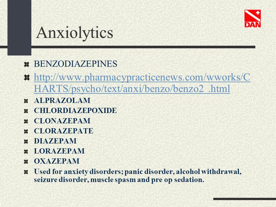 Anxiolytics BENZODIAZEPINES http://www.pharmacypracticenews.com/wworks/C HARTS/psycho/text/anxi/benzo/benzo2.html ALPRAZOLAM CHLORDIAZEPOXIDE CLONAZEP