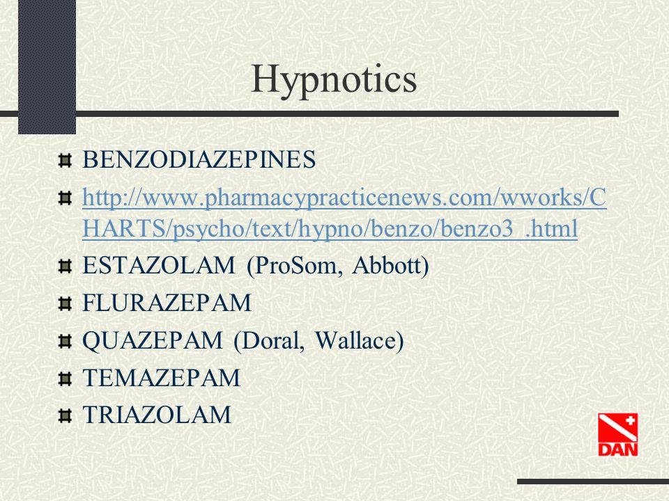 Hypnotics BENZODIAZEPINES http://www.pharmacypracticenews.com/wworks/C HARTS/psycho/text/hypno/benzo/benzo3.html ESTAZOLAM (ProSom, Abbott) FLURAZEPAM