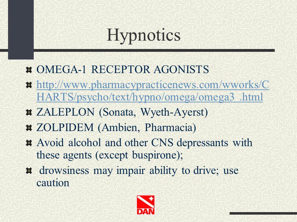 Hypnotics OMEGA-1 RECEPTOR AGONISTS http://www.pharmacypracticenews.com/wworks/C HARTS/psycho/text/hypno/omega/omega3.html ZALEPLON (Sonata, Wyeth-Aye