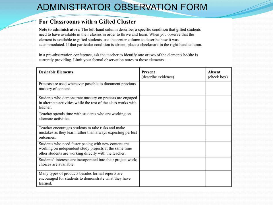 ADMINISTRATOR OBSERVATION FORM
