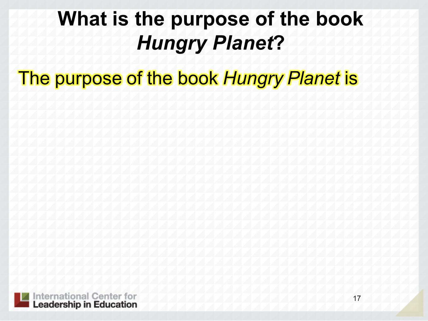 What is the purpose of the book Hungry Planet? 17