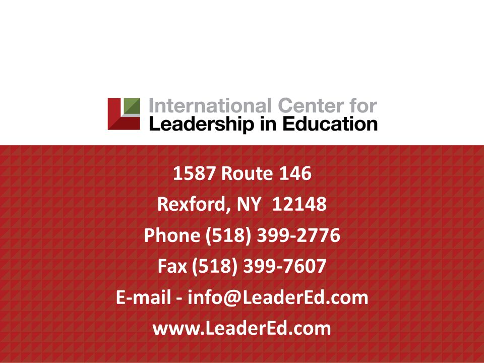 1587 Route 146 Rexford, NY 12148 Phone (518) 399-2776 Fax (518) 399-7607 E-mail - info@LeaderEd.com www.LeaderEd.com