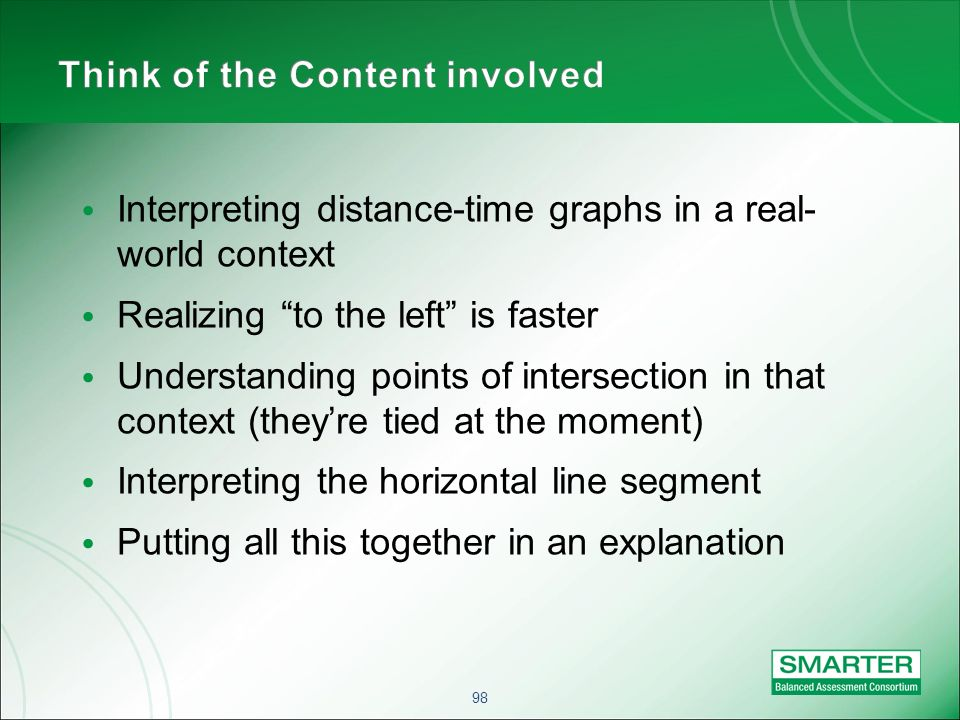 98 Interpreting distance-time graphs in a real- world context Realizing to the left is faster Understanding points of intersection in that context (theyre tied at the moment) Interpreting the horizontal line segment Putting all this together in an explanation