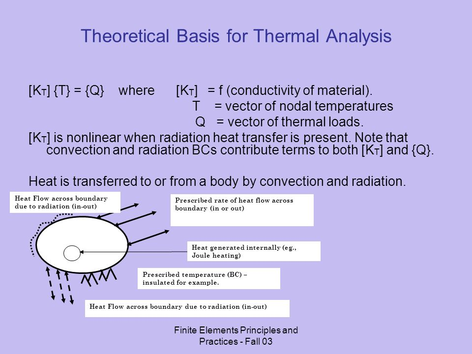 Finite Elements Principles and Practices - Fall 03 Equation of Heat Flow (1D Systems) f x = -k dT/dx [Fourier Heat Conduction Equation].