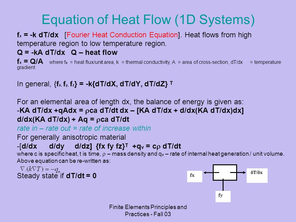 Finite Elements Principles and Practices - Fall 03 Some Notes If the body is plane and there is convection and or radiation heat transfer across its flat lateral surfaces, additional equations for flux terms are needed: Convection BC f = h(Tf – T) (Newtons Law of cooling) [K] += f(h) {Q} = f(h,Tf) where f = flux normal to the surface; Tf – temperature of surrounding fluid; h – heat transfer coefficients (which may depend on many factors like velocity of fluid, roughness/geometry of surface, etc) and T- temperature of surface.