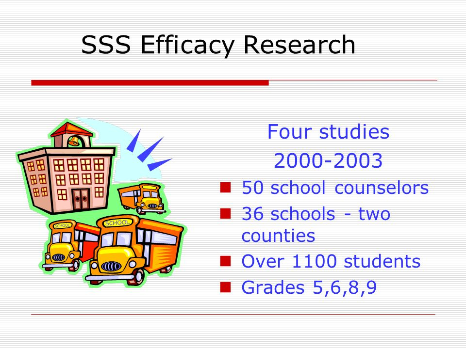 SSS Efficacy Research Four studies 2000-2003 50 school counselors 36 schools - two counties Over 1100 students Grades 5,6,8,9