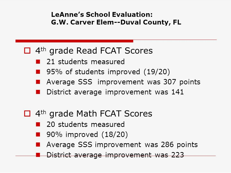 LeAnnes School Evaluation: G.W. Carver Elem--Duval County, FL 4 th grade Read FCAT Scores 21 students measured 95% of students improved (19/20) Averag