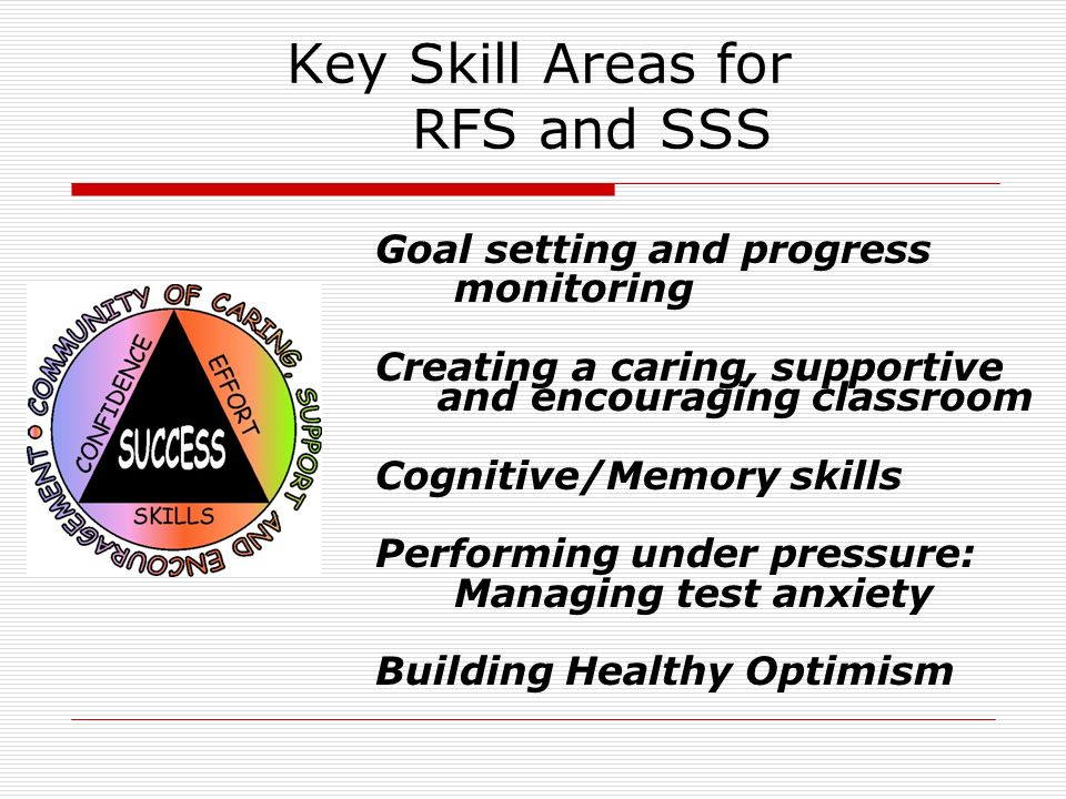 Key Skill Areas for RFS and SSS Goal setting and progress monitoring Creating a caring, supportive and encouraging classroom Cognitive/Memory skills P