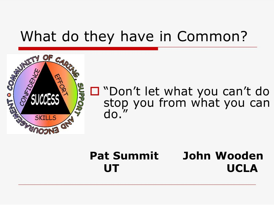 What do they have in Common? Dont let what you cant do stop you from what you can do. Pat Summit John Wooden UT UCLA
