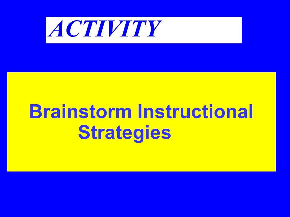 ACTIVITY Brainstorm Instructional Strategies