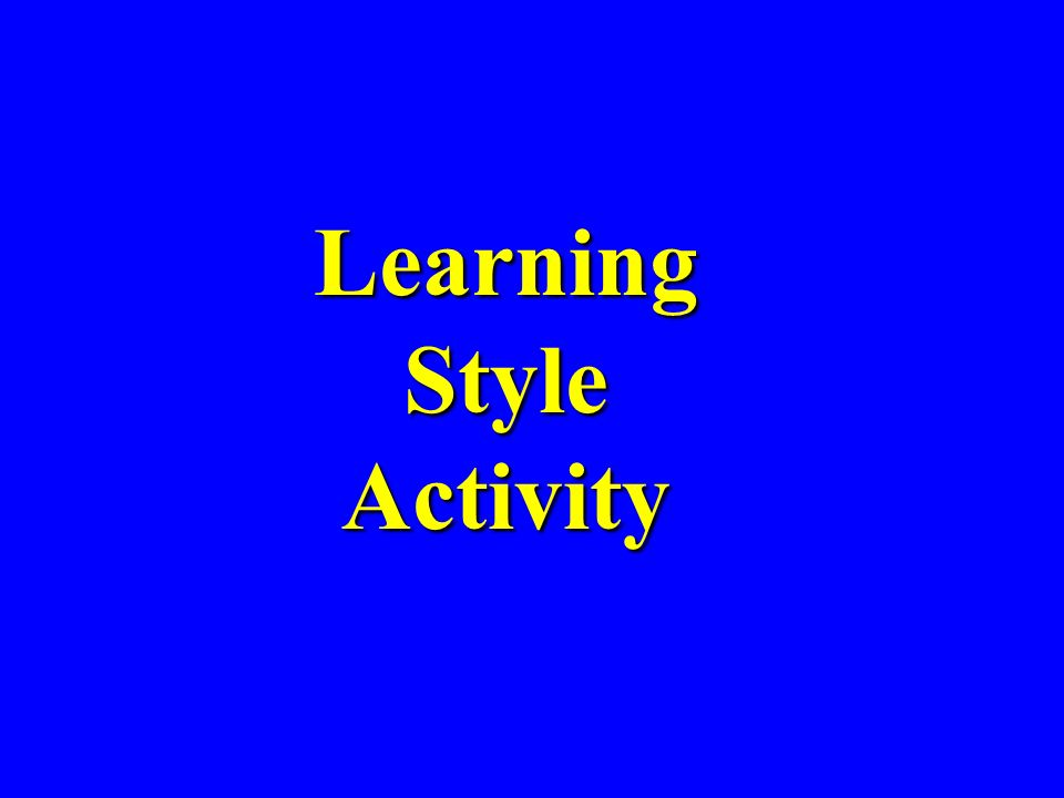 Learning Style Activity