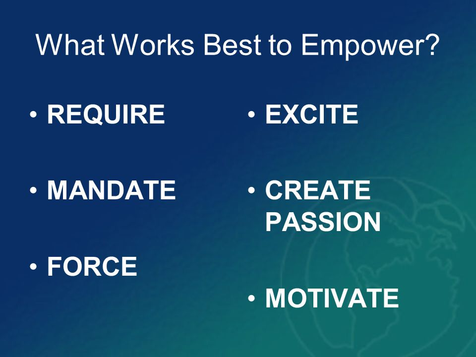 What Works Best to Empower? REQUIRE MANDATE FORCE EXCITE CREATE PASSION MOTIVATE