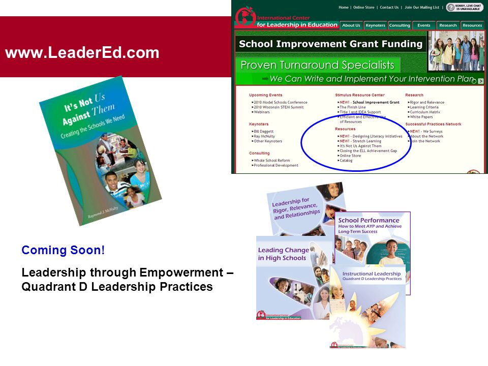 www.LeaderEd.com Coming Soon! Leadership through Empowerment – Quadrant D Leadership Practices