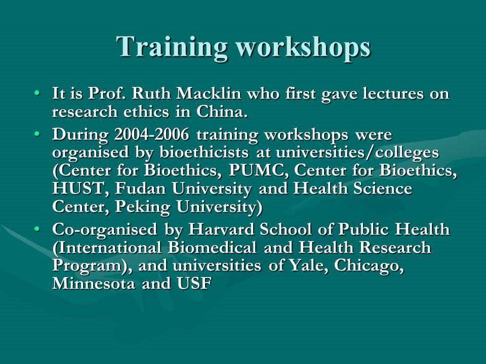 Training workshops It is Prof.