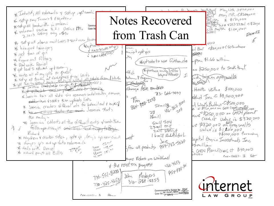 Notes Recovered from Trash Can