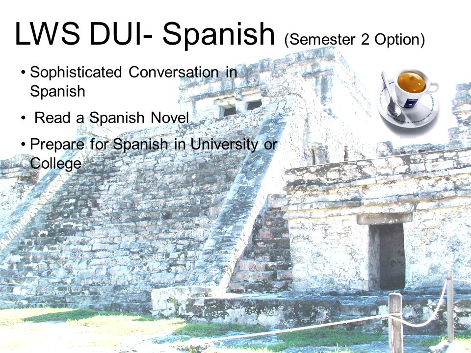 LWS DUI- Spanish (Semester 2 Option) Sophisticated Conversation in Spanish Read a Spanish Novel Prepare for Spanish in University or College