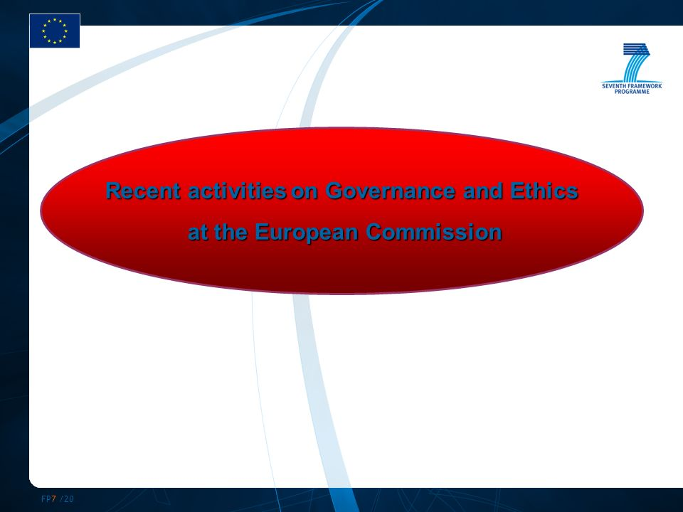 FP7 /20 Recent activities on Governance and Ethics at the European Commission at the European Commission