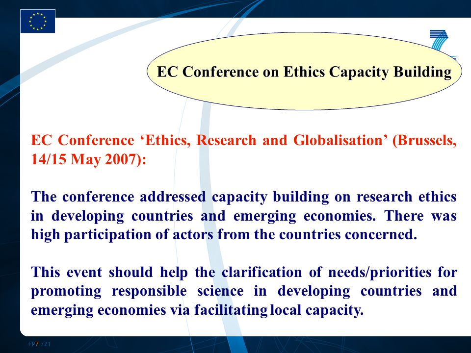 FP7 /21 EC Conference Ethics, Research and Globalisation (Brussels, 14/15 May 2007): The conference addressed capacity building on research ethics in