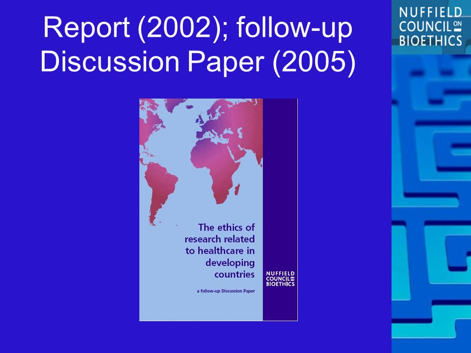 Report (2002); follow-up Discussion Paper (2005)