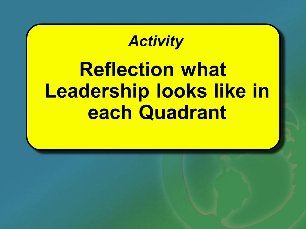 Activity Reflection what Leadership looks like in each Quadrant Activity