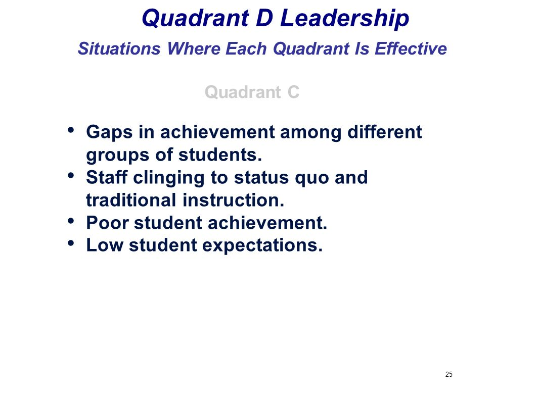 25 Quadrant D Leadership Situations Where Each Quadrant Is Effective Gaps in achievement among different groups of students. Staff clinging to status