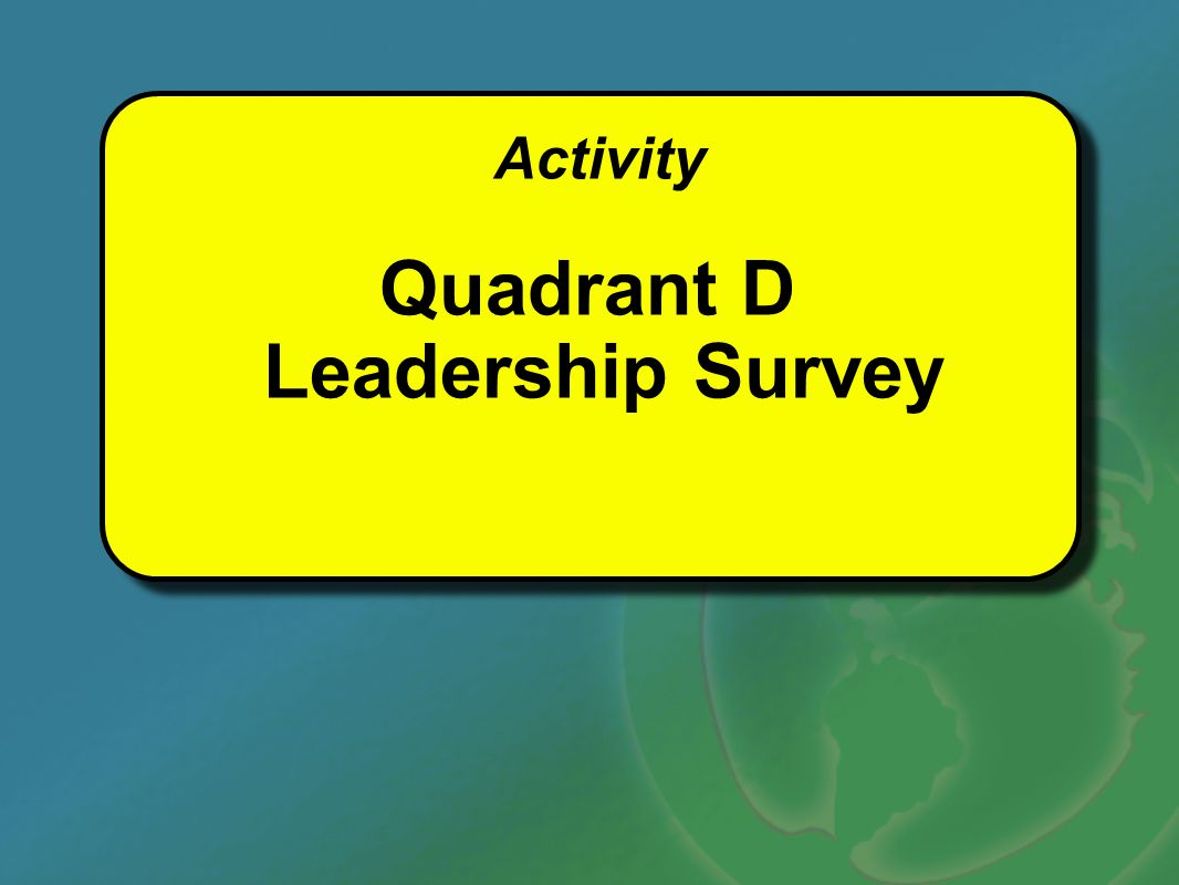 Activity Quadrant D Leadership Survey Activity