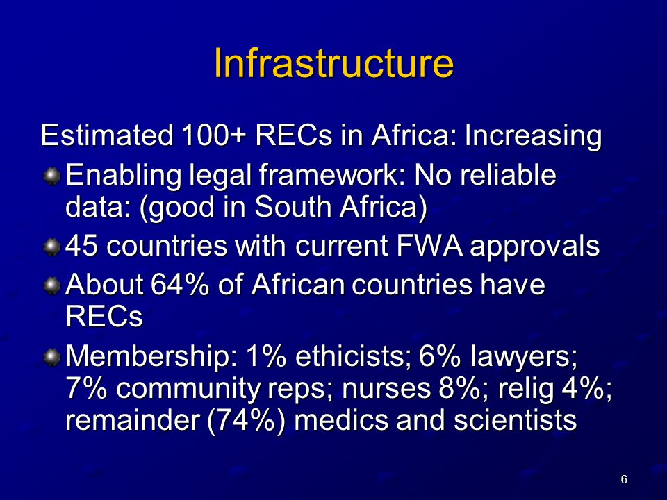 6 Infrastructure Estimated 100+ RECs in Africa: Increasing Enabling legal framework: No reliable data: (good in South Africa) 45 countries with curren