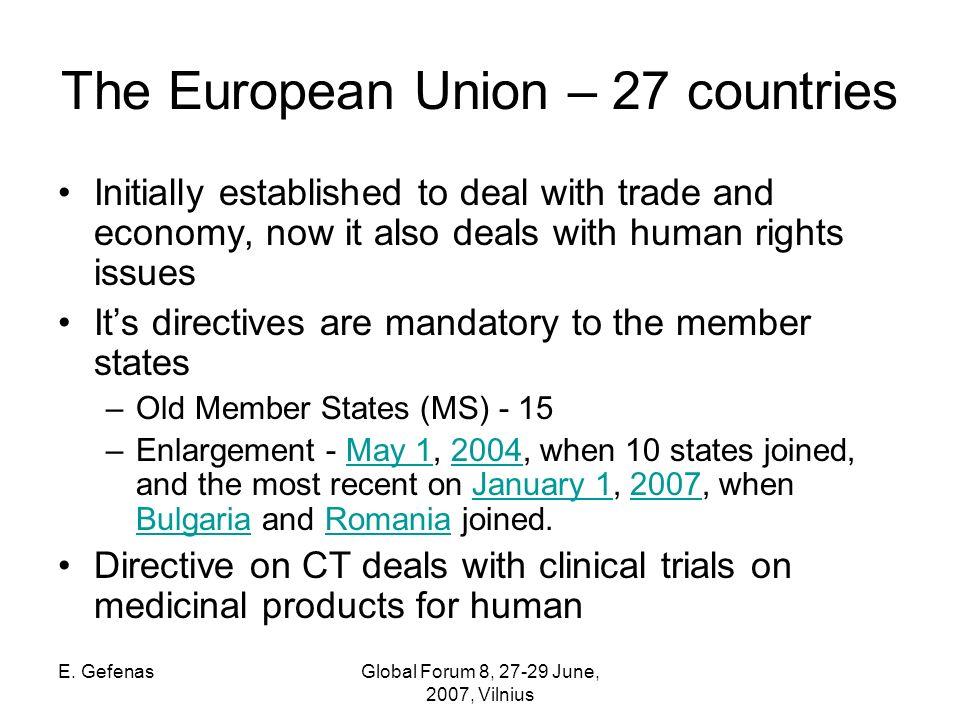 E. GefenasGlobal Forum 8, 27-29 June, 2007, Vilnius European Union (before the enlargement)