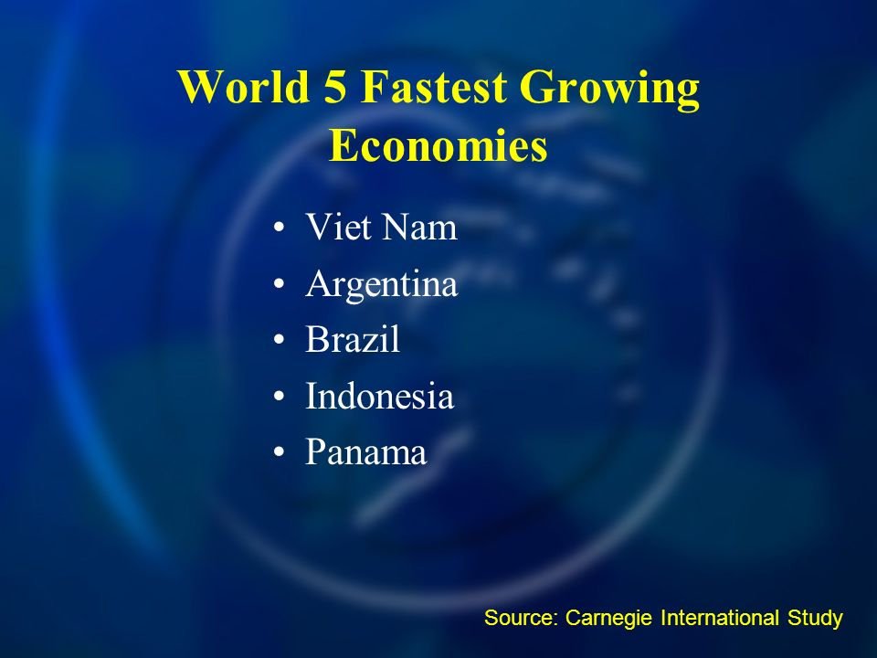 Viet Nam Argentina Brazil Indonesia Panama World 5 Fastest Growing Economies Source: Carnegie International Study
