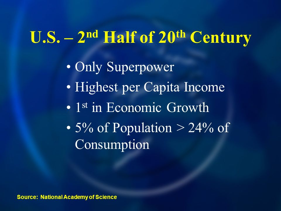 U.S. – 2 nd Half of 20 th Century Only Superpower Highest per Capita Income 1 st in Economic Growth 5% of Population > 24% of Consumption Source: Nati