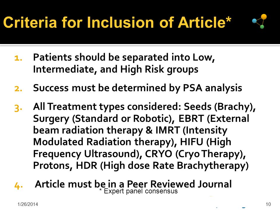 1/26/201410 1.Patients should be separated into Low, Intermediate, and High Risk groups 2.Success must be determined by PSA analysis 3.All Treatment t